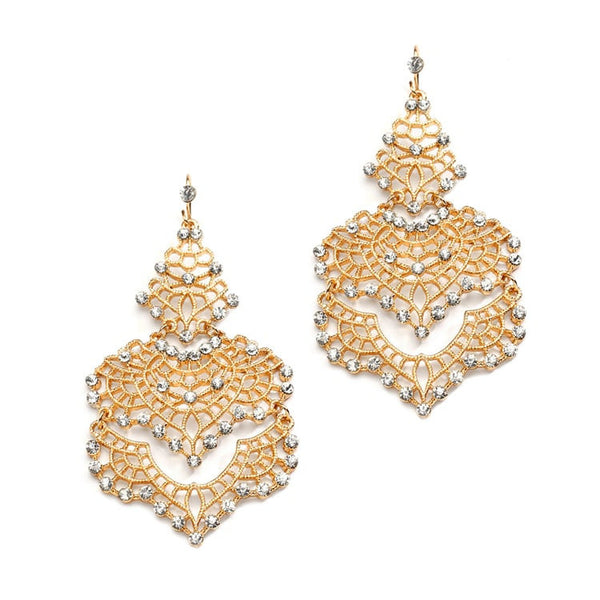 Filigree Gold Statement Earrings with Swarovski Crystal Accents-Earrings-Here Comes The Bling™