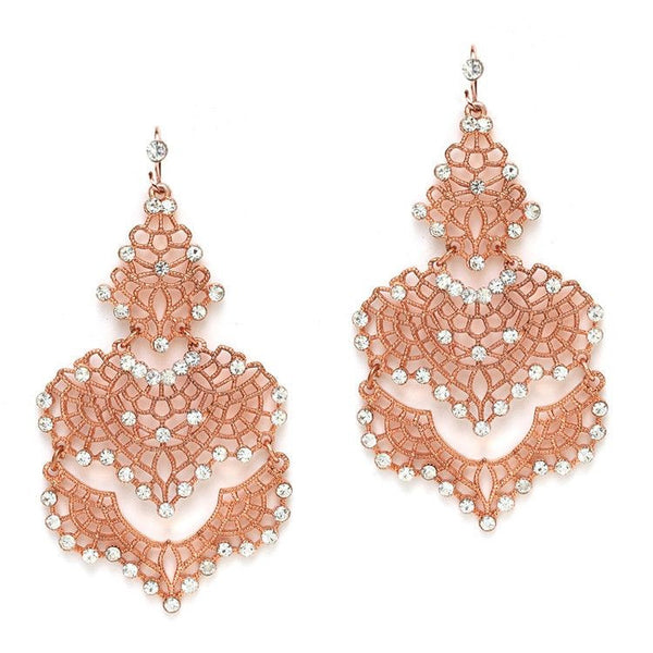 Filigree Rose Gold Statement Earrings with Swarovski Crystal Accents-Earrings-Here Comes The Bling™