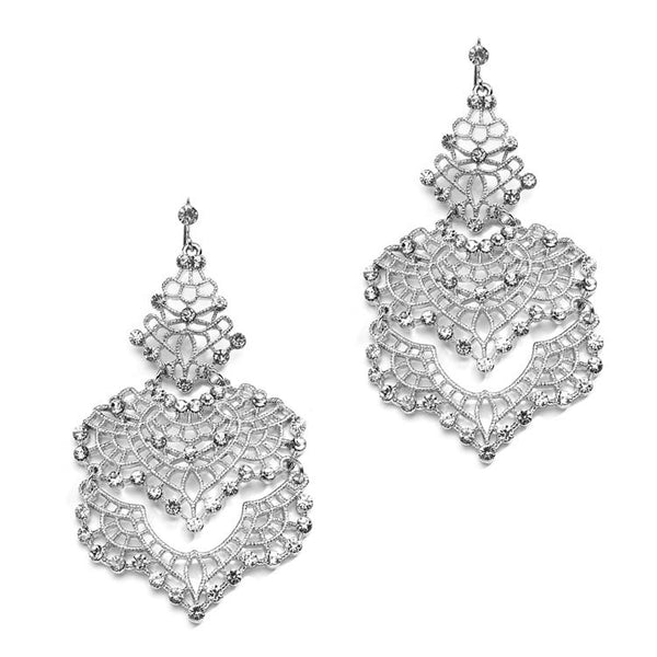 Filigree Silver Statement Earrings with Swarovski Crystal Accents-Earrings-Here Comes The Bling™