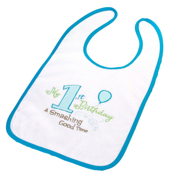 First Birthday Bib - Blue-Baby Gifts-Here Comes The Bling™