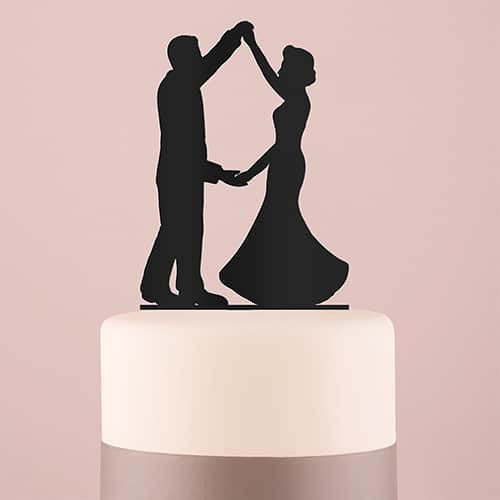 """First Dance"" Silhouette Acrylic Cake Topper ( Available in Black or White)-Cake Toppers-Here Comes The Bling™"