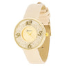 Floating Crystal Gold Watch With Beige Leather Strap-Watches-Here Comes The Bling