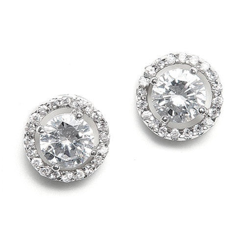 Floating Halo Circle CZ Silver Rhodium Earrings-Earrings-Here Comes The Bling™