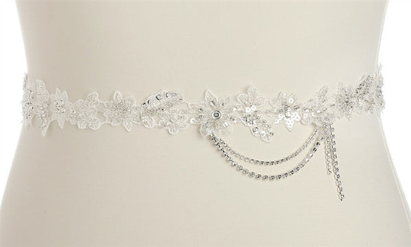 Floral Bridal Sash with Beaded European Wedding Lace-Sash-Here Comes The Bling™