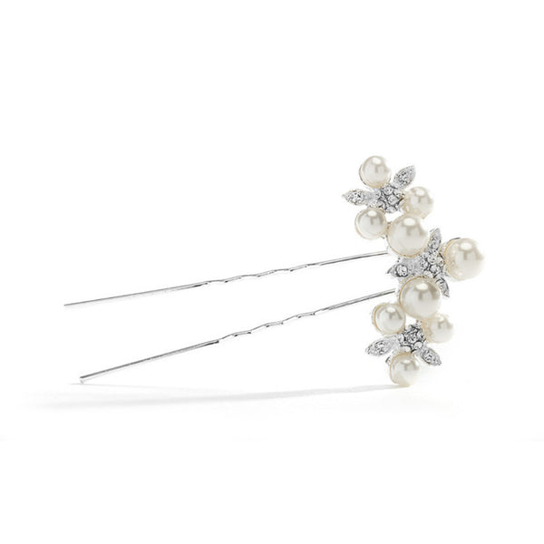 Floral Trio Wedding Hair Pin with Crystals & Pearls-Hair Pins-Here Comes The Bling™