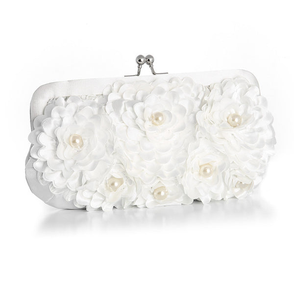 Floral Wedding Purse with Pearl AccentsinWhite-Clutch-Here Comes The Bling™