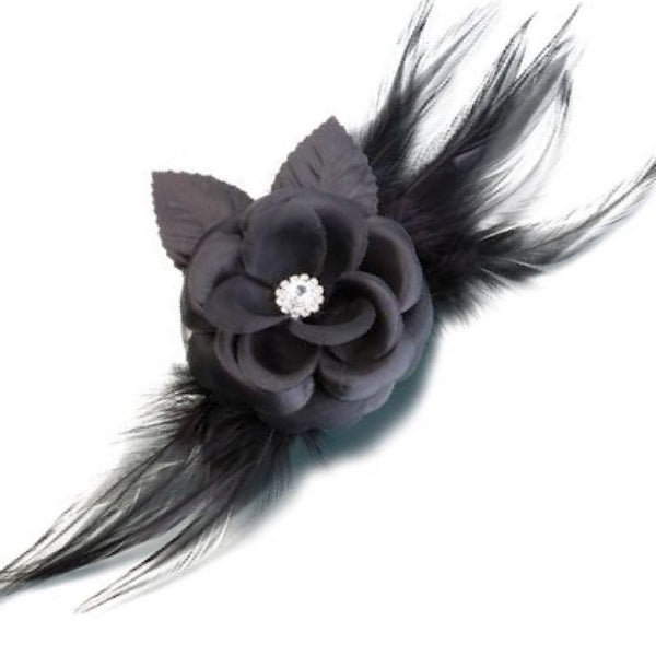 Flower & Feather Clip/Pin-Black-Clips-Here Comes The Bling™