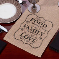 Food Love and Family Burlap Table Runner-Decor-Table Runner-Here Comes The Bling™