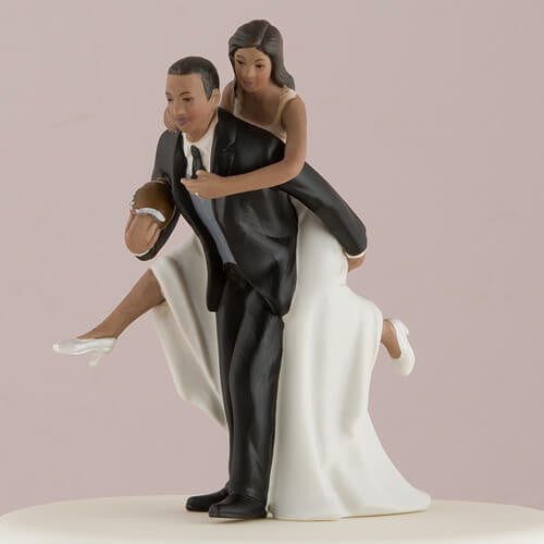 """Football Piggy Back"" Cake Topper with Dark Skin Tone ( Select From 7 Hair Colors )-Cake Toppers-Here Comes The Bling™"