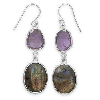 Freeform Amethyst and Labradorite Earrings-Earrings-Here Comes The Bling™