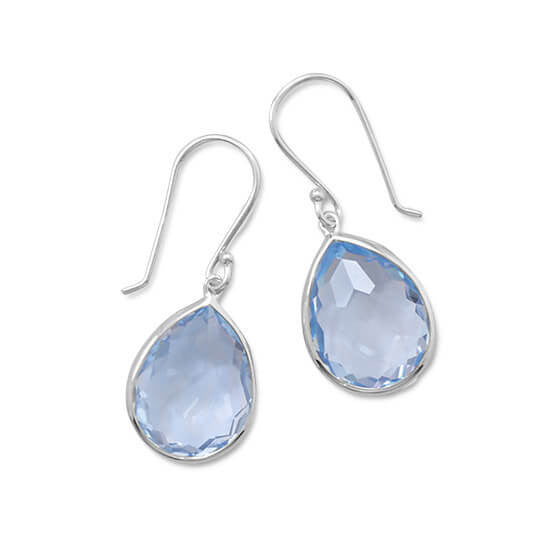 Freeform Faceted Light Blue Hydro Quartz Drop Earrings-Earrings-Here Comes The Bling™