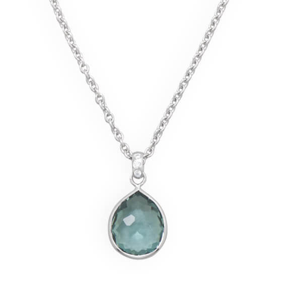 Freeform Faceted Pear Hydro Quartz Necklace-Necklaces-Here Comes The Bling™