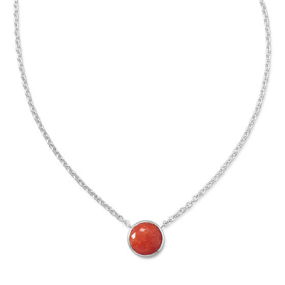Freeform Faceted Quartz over Reconstituted Coral Necklace-Necklaces-Here Comes The Bling™