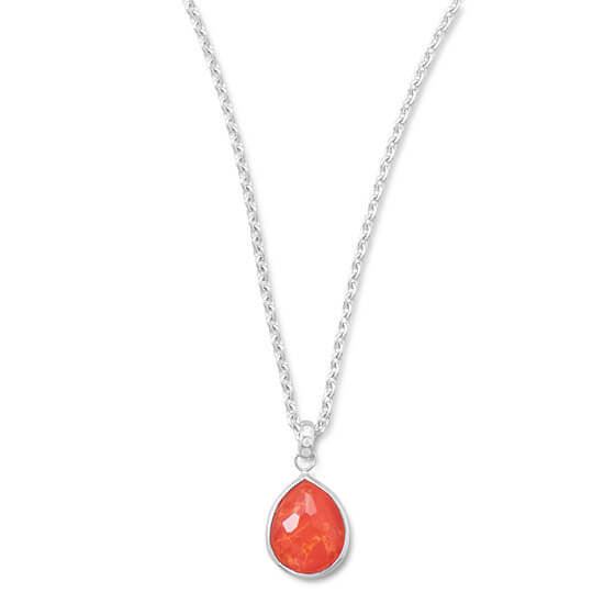 Freeform Faceted Quartz over Reconstituted Coral Pear Drop Necklace-Necklaces-Here Comes The Bling™