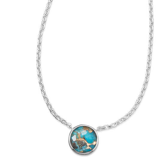 Freeform Faceted Quartz over Turquoise Necklace-Necklaces-Here Comes The Bling™