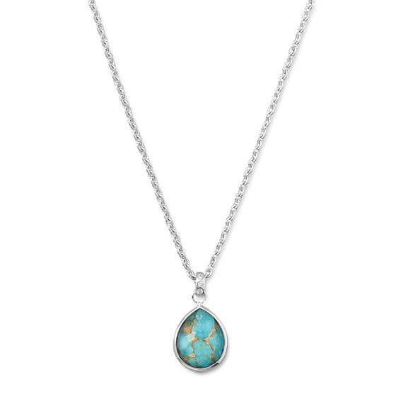 Freeform Faceted Quartz over Turquoise Pear Drop Necklace-Necklaces-Here Comes The Bling™