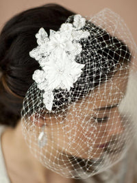 French Net Vintage Bridal Veil with White Beaded & Floral Lace Applique-Birdcage-Here Comes The Bling™