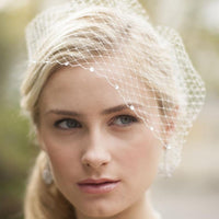 French Netting Bridal Birdcage Visor Veil with Crystals-Birdcage-Here Comes The Bling™
