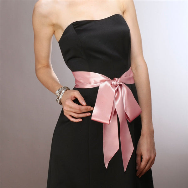 French Satin Double Sided Ribbon Sash in Blush-Sash-Here Comes The Bling™