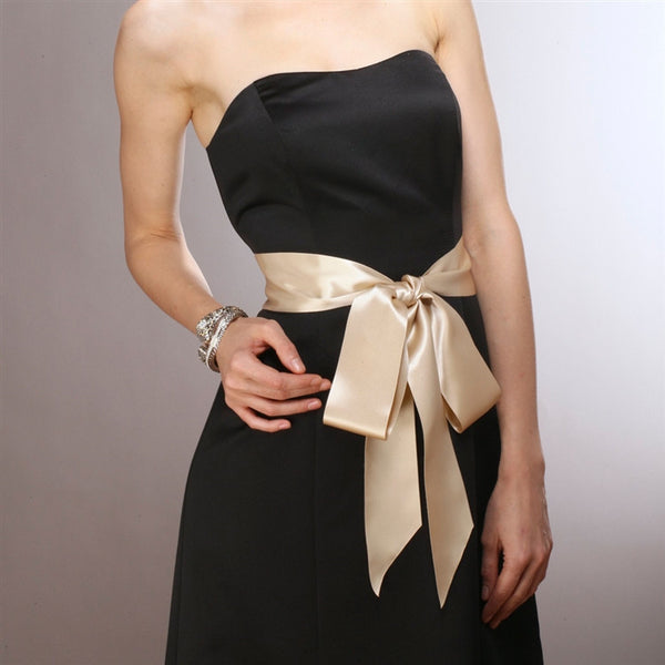 French Satin Double Sided Ribbon Sash in Champagne-Sash-Here Comes The Bling™