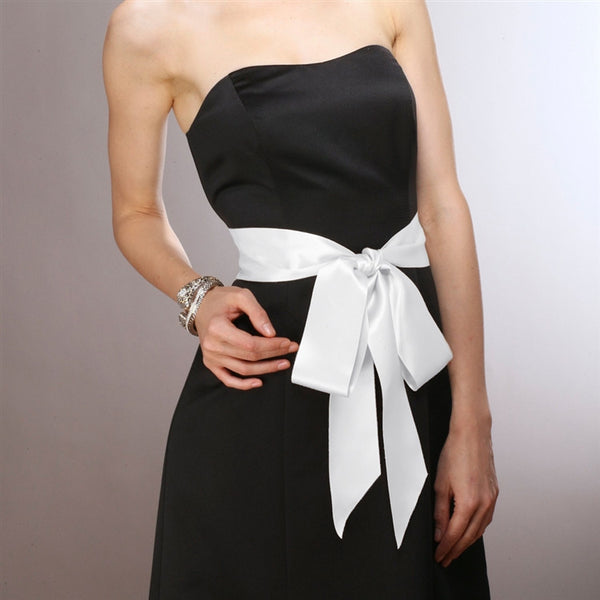 French Satin Double Sided Ribbon Sash in White-Sash-Here Comes The Bling™