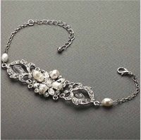 Freshwater Pearl and Crystal Bridal Bracelet-Bracelets-Here Comes The Bling™