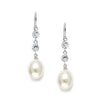 Freshwater Pearl and Cubic Zirconia Dangle Wedding Earrings-Earrings-Here Comes The Bling™