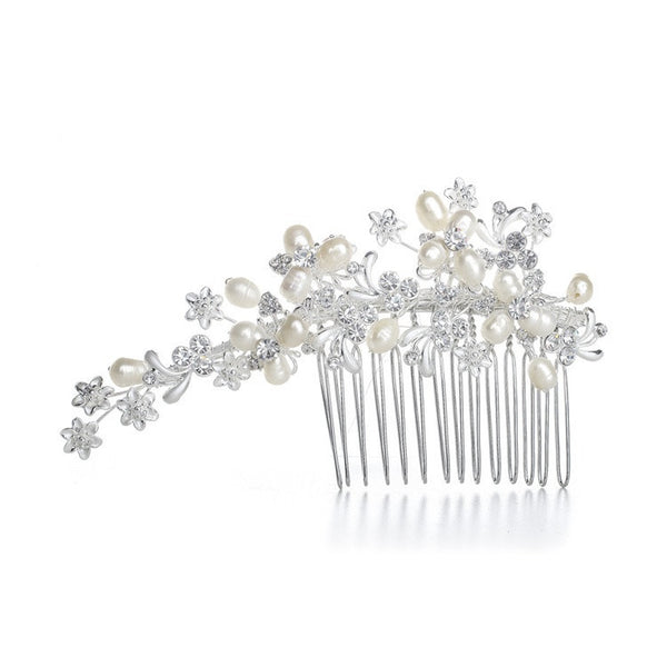 Freshwater Pearl Bridal Comb with Crystal-Combs-Here Comes The Bling™