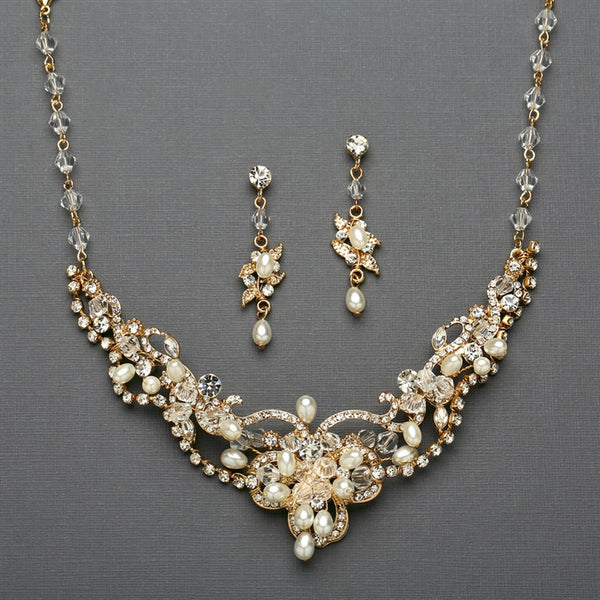 Freshwater Pearl & Crystal Gold Wedding Necklace and Earrings Set-Sets-Here Comes The Bling™