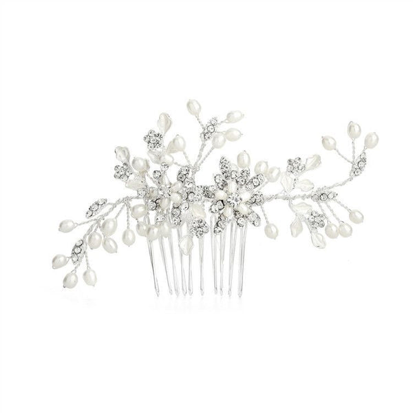 Freshwater Pearl Wedding Hair Comb with Pave Crystal Leaves-Combs-Here Comes The Bling™