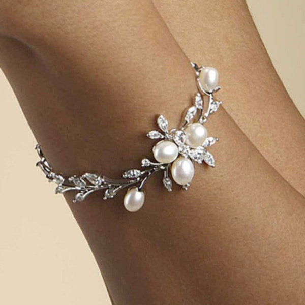 Freshwater Pearls in CZ Leaves Bracelet-Bracelets-Here Comes The Bling™