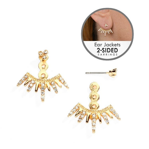 Front-Back Earrings with Gold Spike Jackets-Earrings-Here Comes The Bling™