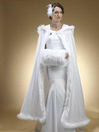 Full Length Hooded Satin Bridal Cloak with Faux Angora Trim-Coverage-Here Comes The Bling™