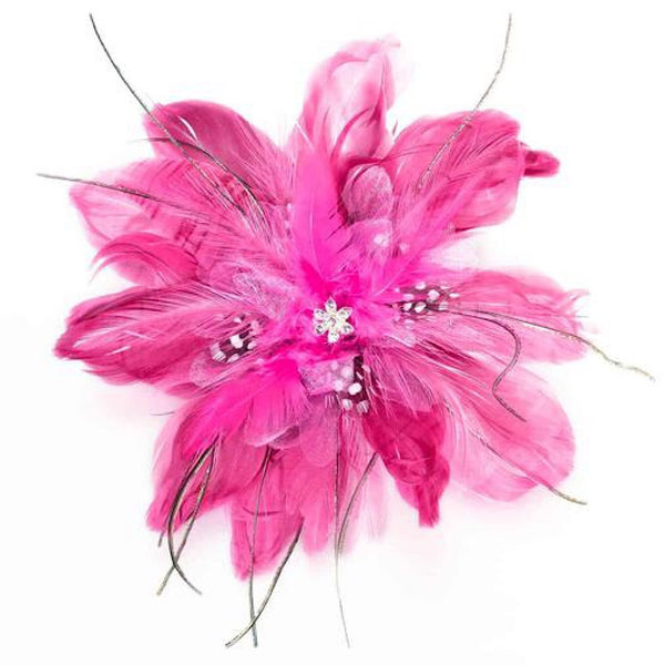 Fun Fuchsia Flower & Feather Hair Clip/Pin-Clips-Here Comes The Bling™