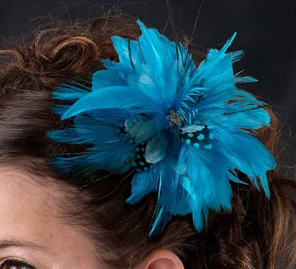 Fun Turquoise Flower Shaped Feather Hair Clip-Clips-Here Comes The Bling™