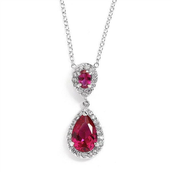 Fuschia Cubic Ziconia Teardrop Pendant-Necklaces-Here Comes The Bling™