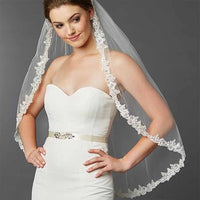 Crystal Accented Sculpted Lace Edge Mantilla Bridal Veil