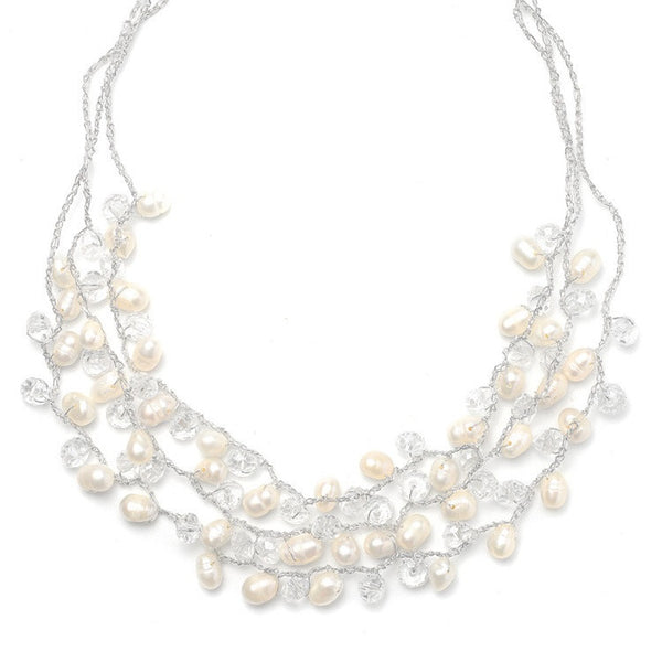 Genuine Freshwater Pearls 3-Row Bridal Necklace-Necklaces-Here Comes The Bling™