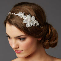 Genuine Preciosa Crystal Hand Wired Wavy Headband with Fine European Lace-Headband-Here Comes The Bling™