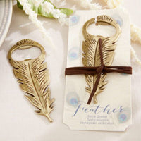"""Gilded Gold"" Feather Bottle Opener (Set of 6)-Favors-Bottle Opener-Here Comes The Bling™"