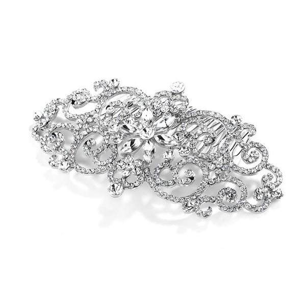 Glamorous Bold Scrolls Wedding or Prom Hair Comb with Crystals-Combs-Here Comes The Bling™