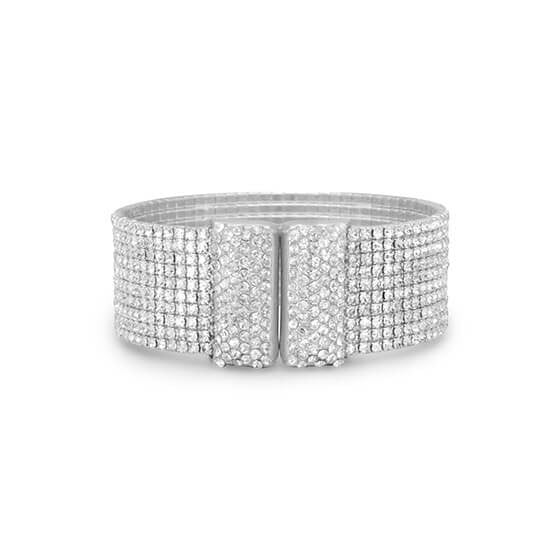 Glamorous Crystal Flex Cuff Fashion Bracelet-Bracelets-Here Comes The Bling™