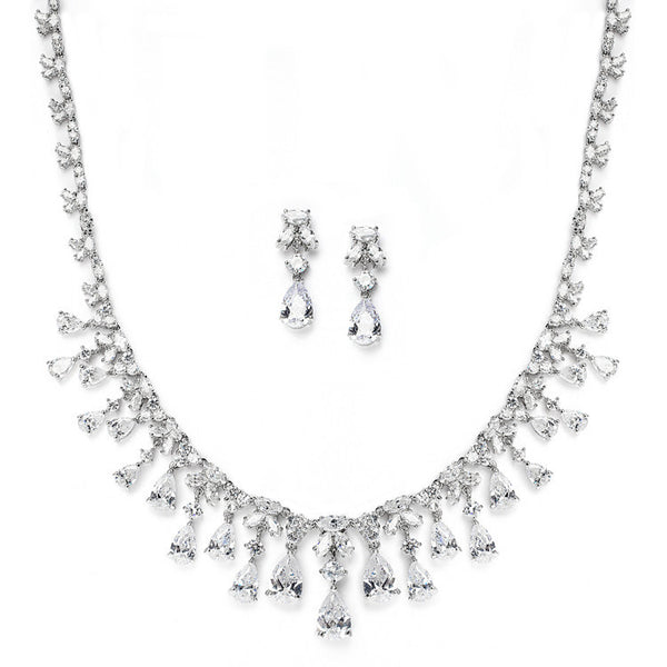 Glamorous Cubic Zirconia Teardrops Wedding Necklace & Earrings Set-Sets-Here Comes The Bling™
