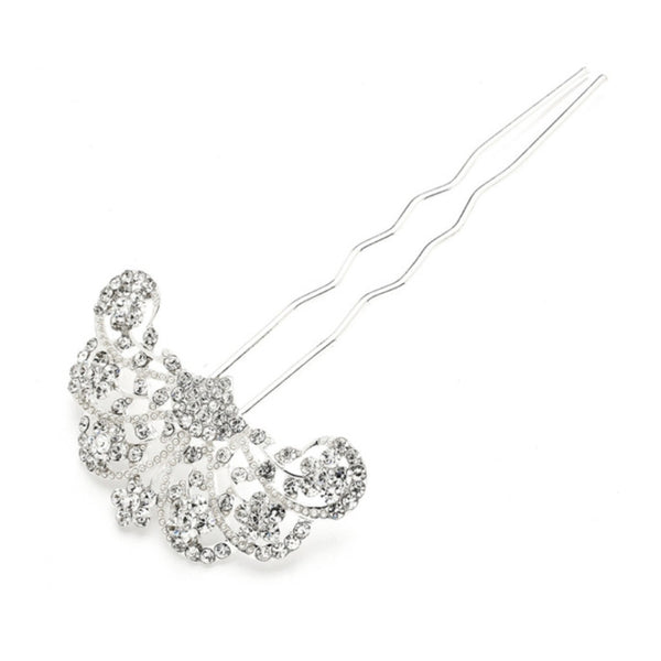Glamorous Gatsby Fan Shaped Crystal Prom or Wedding Hair Stick Pin-Hair Pins-Here Comes The Bling™