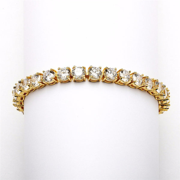 Glamorous Gold Petite Tennis Bracelet-Bracelets-Here Comes The Bling™