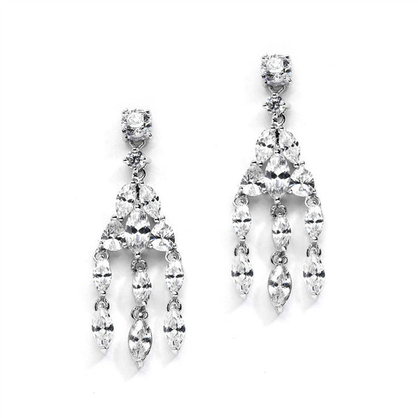 Glamorous Popular size CZ Chandelier Earrings for Weddings-Earrings-Here Comes The Bling™