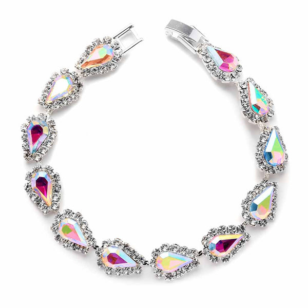 Glistening AB Pear Rhinestone Prom Bracelet-Bracelets-Here Comes The Bling™
