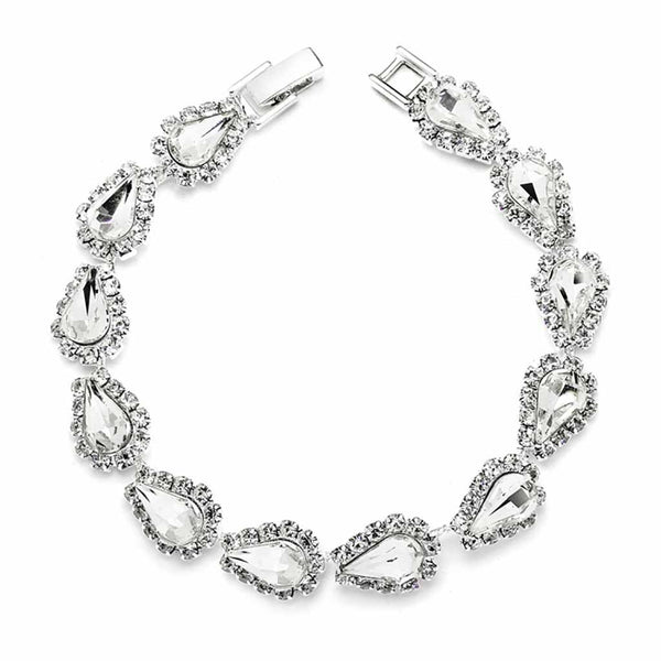 Glistening Clear Pear Rhinestone Prom Bracelet-Bracelets-Here Comes The Bling™
