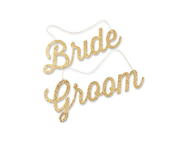 Glitter Gold Bride & Groom Chair Signs-Decor-Chairs-Here Comes The Bling™