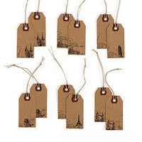 """Global Destinations"" Vintage Paper Shipping Tags with Twine Ties ( Sold in Packs of 12 )-Favors-Tags-Here Comes The Bling™"
